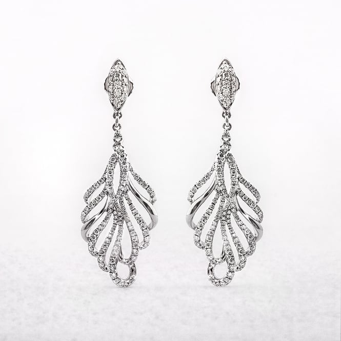 1.80ct White Gold Diamond Drop Earrings
