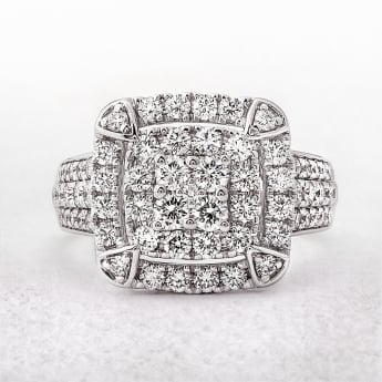 1.83ct Cushion Shaped White Gold Diamond Dress Ring