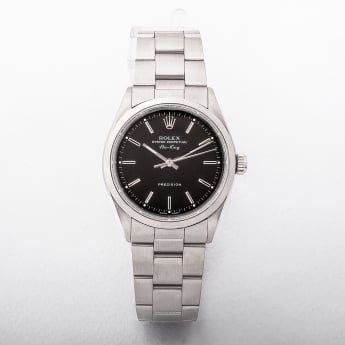 14000 Model from 1998 Rolex Air King With Black Baton Dial On A Stainless Steel Oyster Bracelet