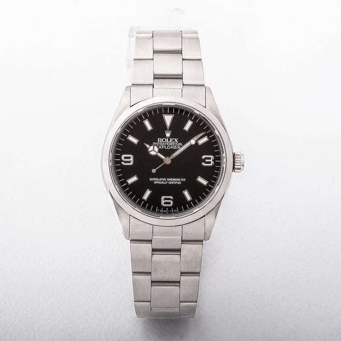 14270 Model Rolex Explorer 1 from 1991 with Black Baton Dial On A Stainless Steel Oyster Bracelet .