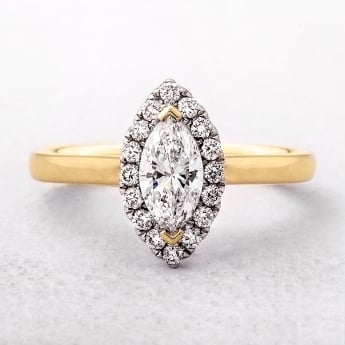18ct Marquise Cut Diamond Halo Ring