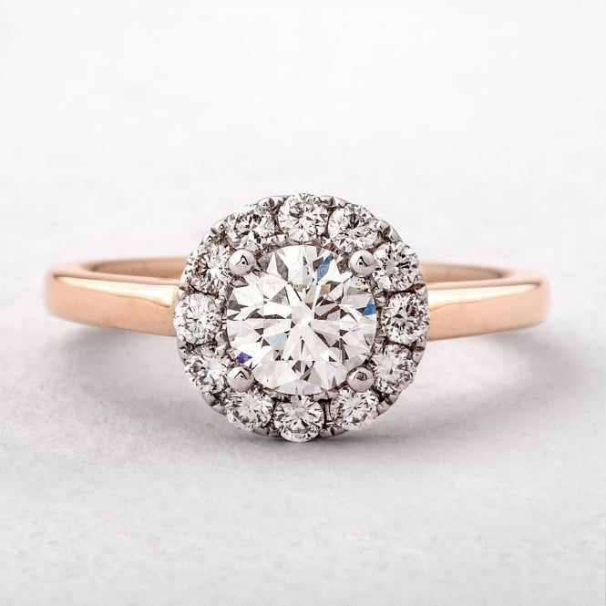 18ct Rose Gold Brilliant Cut Diamond Halo