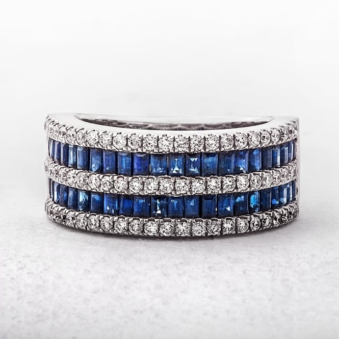 18ct White Gold 1.50ct Sapphire &0.50ct Diamond Dress Ring