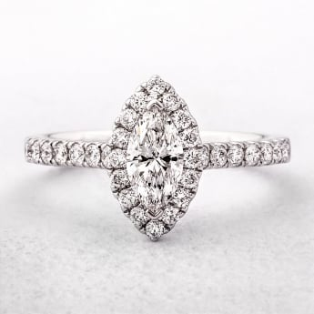 18ct White Gold Marquise Cut Halo Style Diamond Ring