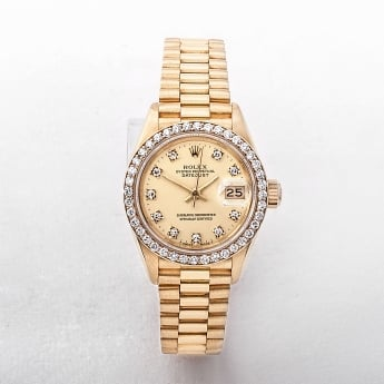1987 Certified Ladies 18ct Gold Rolex Watch with Diamond Dial