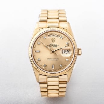 1987 Gents Rolex Day Date 18ct Gold Watch with Diamond Batons
