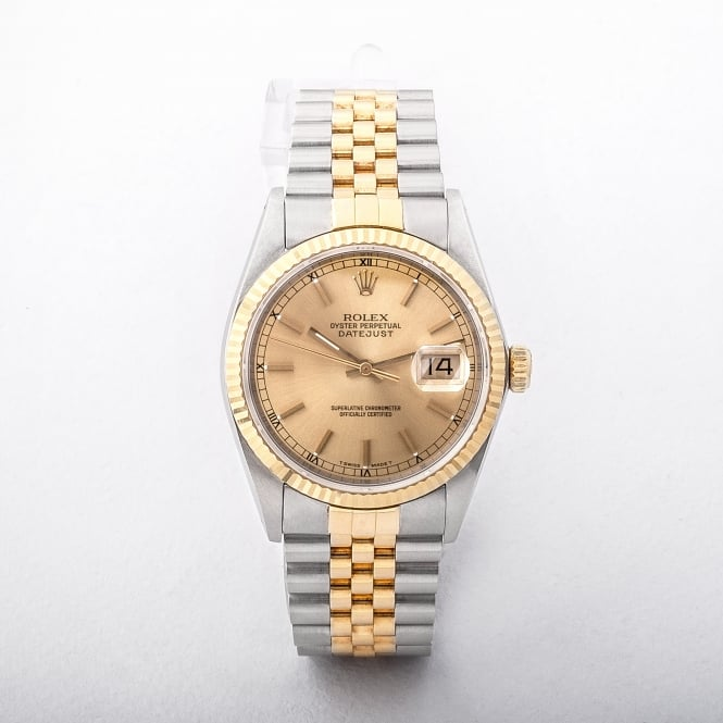 1991 Mid-Size Rolex Datejust Watch with Gold Dial