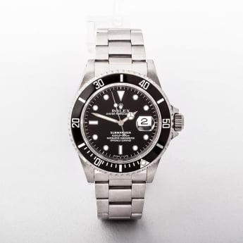 1996 Gents Rolex Submariner Black Dial Watch with Black Bezel