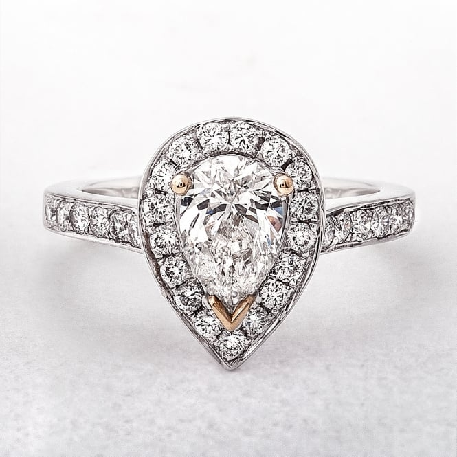 1ct White Gold Solitaire Pear Halo Diamond Ring