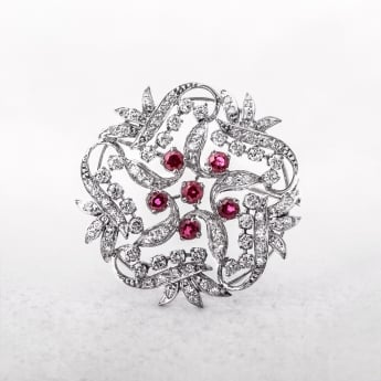 2.00ct Diamond & Ruby Brooch