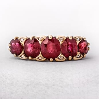 2.49ct Five Stone Antique Ruby & Diamond Ring