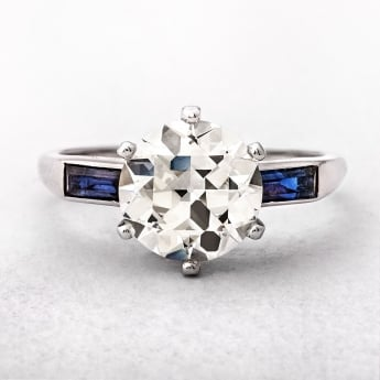 2.53ct French Art Deco Platinum Diamond & Sapphire Ring