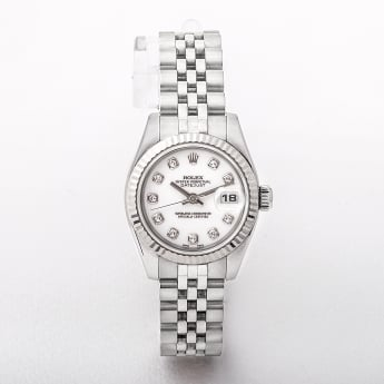2005 Ladies Rolex 18ct white gold fluted bezel and diamond set dial .
