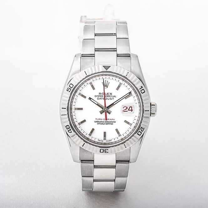 2006 Gents Rolex Turnograph Datejust Watch with White Dial # 116264