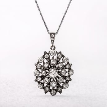 3.15ct Diamond Cluster Oval Pendant