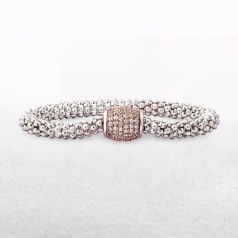 Amore Mesh Style Sterling Silver Bracelet with Rose Gold Barrel