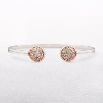 Amore Rose Gold & Sterling Silver Torc Style Bangle with Cubic Zirconia