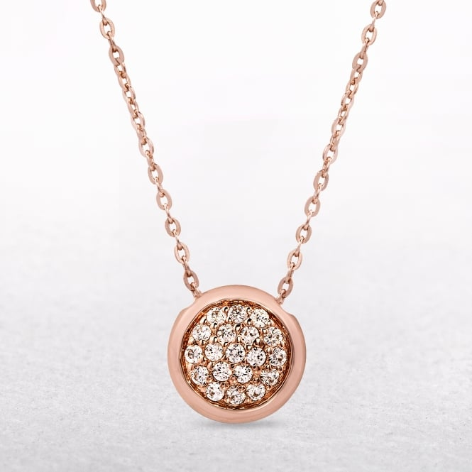 Amore Sterling Silver & Rose Gold Disc Necklace with Cubic Zirconias