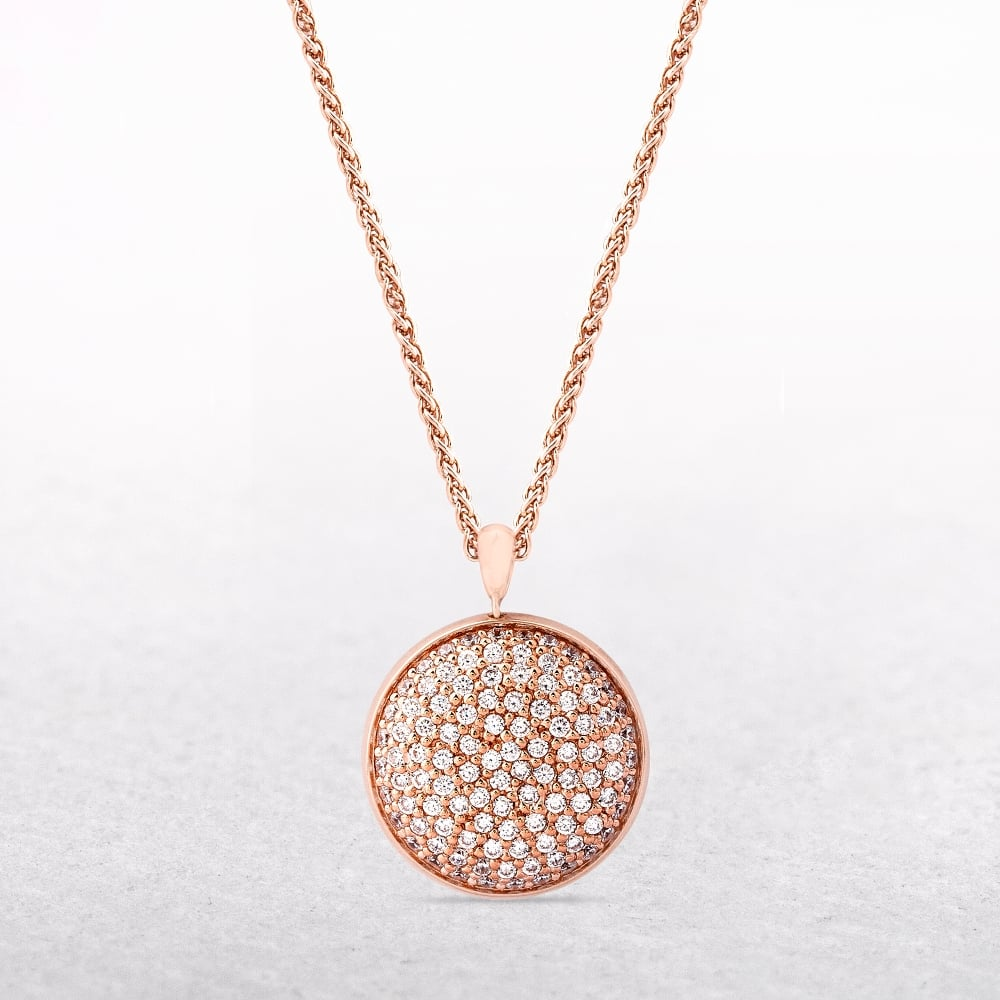 Sterling silver rose gold disc necklace with white cubic zirconias amore sterling silver rose gold disc necklace with white cubic zirconias aloadofball Gallery