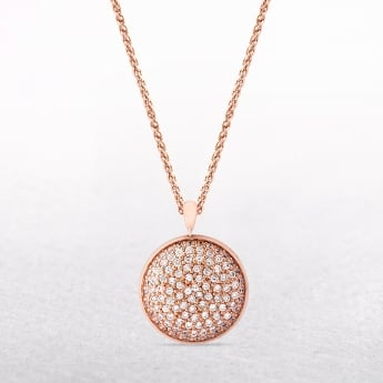 Amore Sterling Silver & Rose Gold Disc Necklace with White Cubic Zirconias