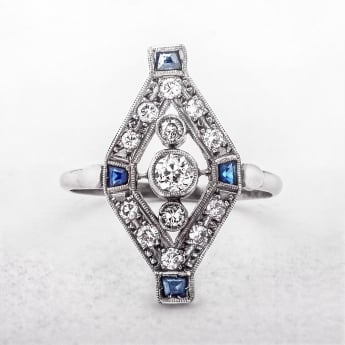 Antique Diamond & Sapphire Art Deco Ring