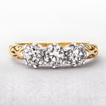 Antique Diamond Three Stone Ring 1.20ct in Yellow Gold