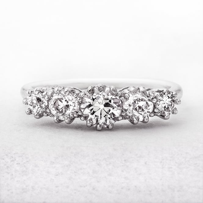 Antique Five Stone Diamond Ring in White Gold