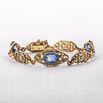 Antique French Sapphire Bracelet in 18ct Yellow Gold