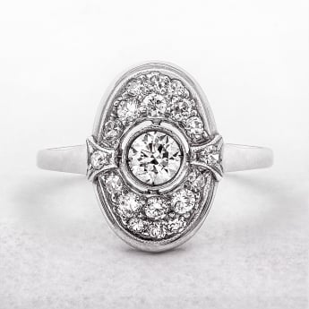 Antique Oval Diamond Plaque Ring in White Gold