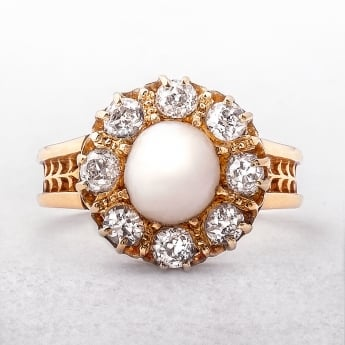 Antique Pearl & Diamond 14ct Cluster Ring