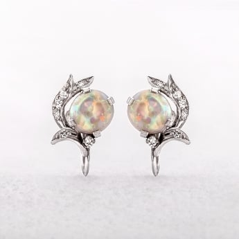 Antique Platinum Opal & Diamond Earrings