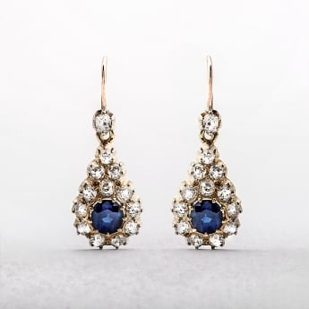 Antique Sapphire & Diamond 1890s Drop Earrings