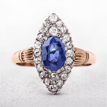 Antique Sapphire & Diamond 9ct Marquise Cluster Ring