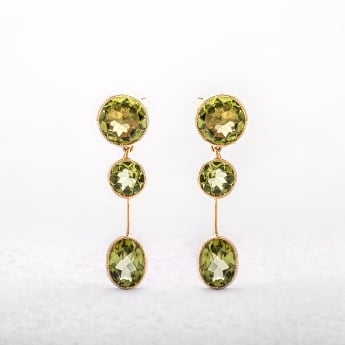 Antique Style Peridot Drop Earrings