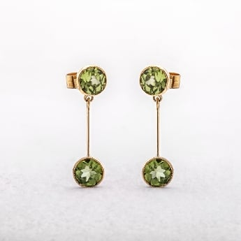 Antique-Style Round Peridot Drop Earrings