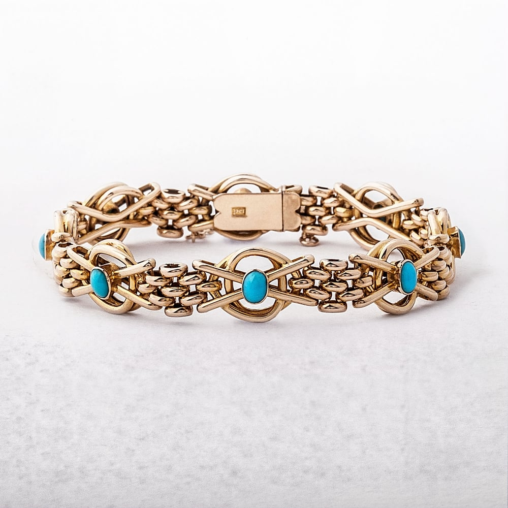 Antique Turquoise 15ct Gold Bracelet