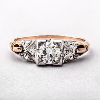 Art Deco Diamond Engagement Ring Set in 14ct Gold