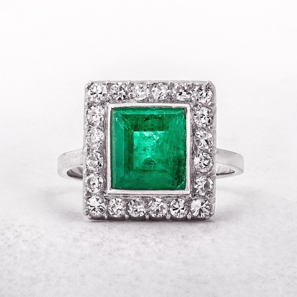 Emeraldamp; Cluster French Diamond Art Deco Ring BWdCrQxoeE