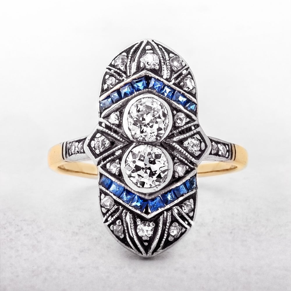 diamond yellow gold p ring eternity sapphire asp blue
