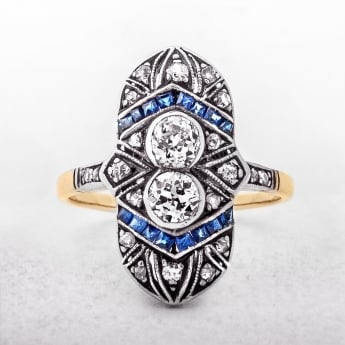 Art Deco Sapphire & Diamond Yellow Gold Ring