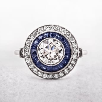 Art Deco Style Sapphire and Diamond Platinum Target Ring