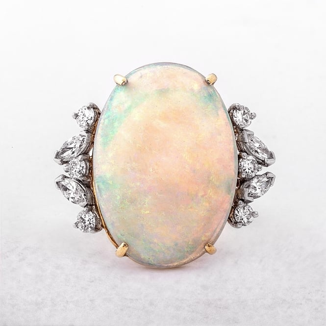 Cabachon Cut Opal & Diamond Gold Dress Ring