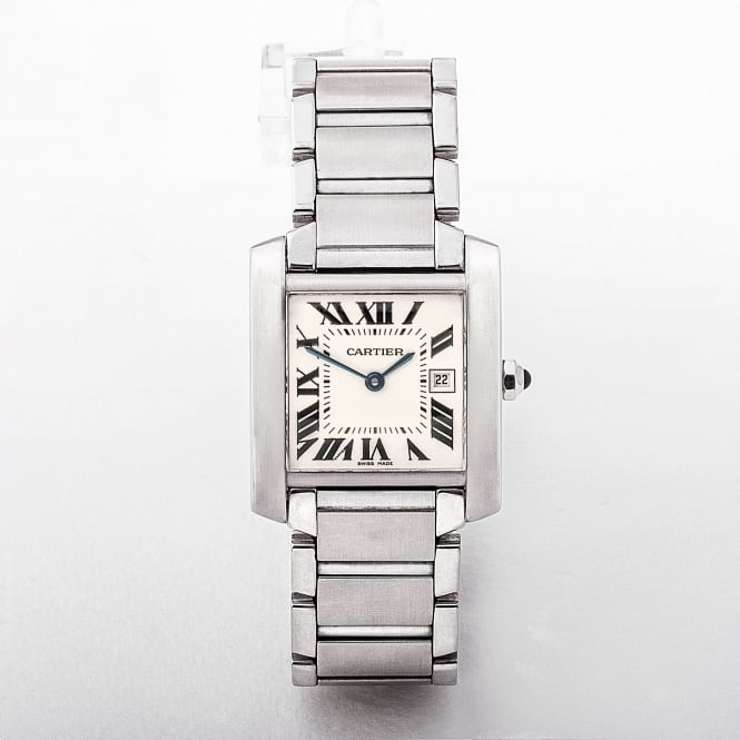 Cartier Tank Francaise Gents Stainless Steel Watch with White Dial