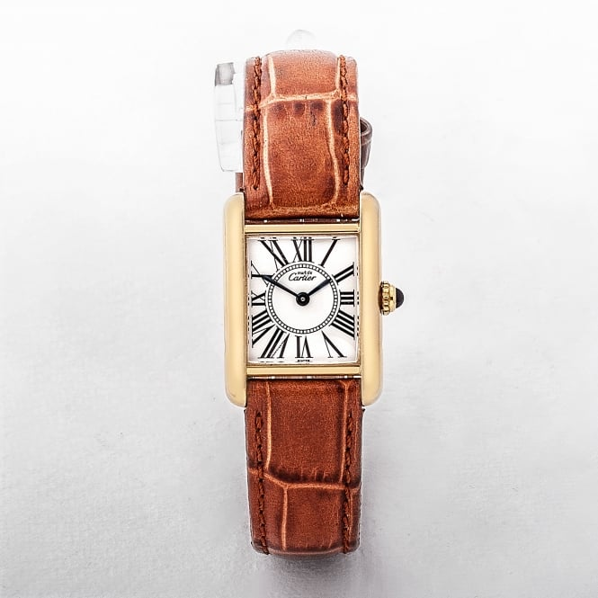 Cartier Tank Ladies 1996 Watch with Vermeil Case and Leather Strap