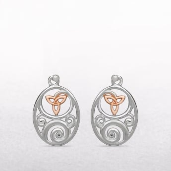 Celtic Trinity Knot Sterling Silver & Rose Gold House of Lor Earrings