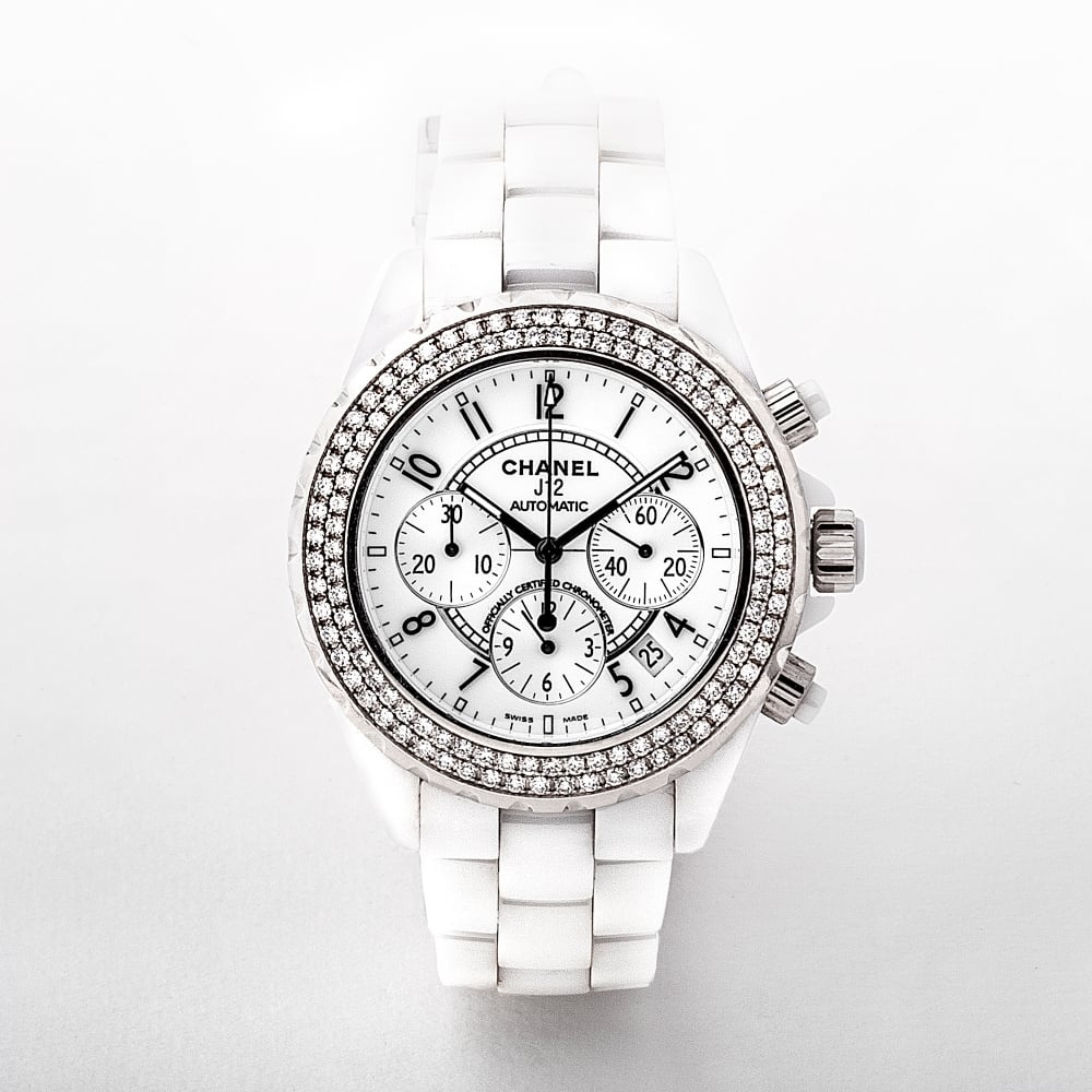 Chanel J12 Chronograph Ceramic Diamond Ladies Watch Original Box