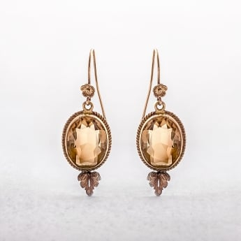 Citrine Oval Drop Earrings in 18ct Yellow Gold