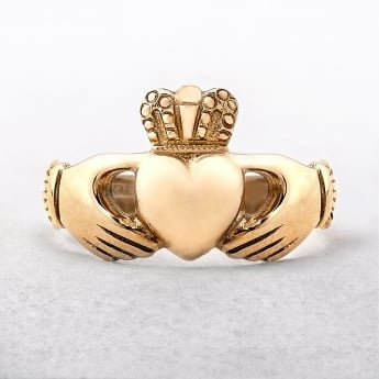 Claddagh Gents Celtic Ring Irish Made in Yellow Gold