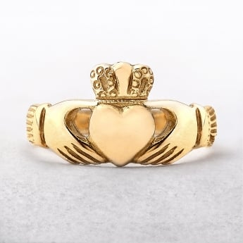 Claddagh Ladies Celtic Ring Irish Made in Yellow Gold