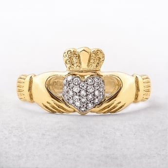 Claddagh Ladies Diamond Set Ring in 9ct Yellow Gold